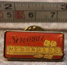 McDonalds Scrabble Rectangular Employee Collectible Pinback Pin Button #McDonalds