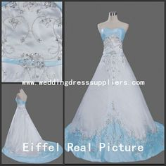 S5006 A-line Gown Strapless Embroidery Beaded Light Blue and White Wedding Dress