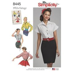 Step back in time with a Misses' 1950s vintage blouse with cummerbund pattern. The front and collar are cut in one, the back is gathered to a deep yoke and features kimono sleeves. Simplicity sewing pattern.will def get this with Simplictys ability to screw up vintage pattern sizeing lately.. I don't think even they could hurt a blouse. why is she in a mini skirt in 1940???