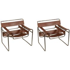 Set of Marcel Breuer Wassily Lounge Chairs | From a unique collection of antique and modern lounge chairs at https://www.1stdibs.com/furniture/seating/lounge-chairs/