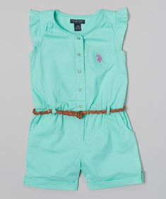 Take a look at the U.S. Polo Assn. Frozen Aqua Angel-Sleeve Romper - Infant, Toddler & Girls on #zulily today!