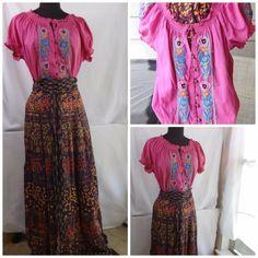 Maxi wrap skirt w Pink Festival peasant blouse Boho 70s Hippie Costume Sz Med-Lg #BostonProper #Peasant #Halloween