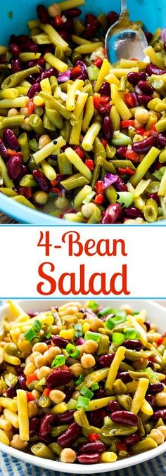 Sweet and Tangy Four Bean Salad Sweet and Tangy Four Bean Salad is full of beans, celery, onions, and pimentos all marinated in a sweet and tangy dressing. - Sweet and Tangy Four Bean Salad Bean Salad Recipes, Healthy Recipes, Healthy Salads, Vegetarian Recipes, Healthy Eating, Cooking Recipes, Bean Salads, Vegetarian Salad, Veggie Salads Recipes