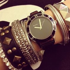 Lovely mix of #bracelets and black #watch