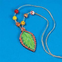 Wood Leaf Necklace Craft Kit (makes 12)