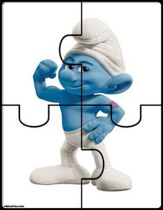 FREE! Smurfs Number Puzzles - preKautism.com
