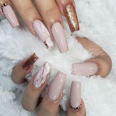 Marble Nail Designs, Cute Acrylic Nail Designs, Long Nail Designs, Marble Nail Art, Best Acrylic Nails, Nail Art Designs, Nails Design, Coffin Nails Glitter, Coffin Nails Long