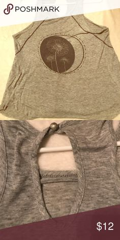 Grey flower/moon shirt Grey flower/moon shirt with key hole design in back. Perfect for layering or wearing with an open jean/bomber jacket. 💕 only worn once Tops