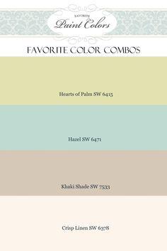 LOTS of beautiful paint color combos for home decor: http://www.favoritepaintcolorsblog.com/