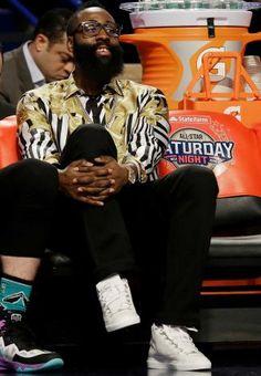 James Harden Watches NBA Slam Dunk Contest Wearing Versace Shirt and Balenciaga Sneakers | UpscaleHype