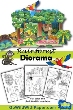 diorama ideas Papercraft rainforest habitat for kids to make: Tropical Rainforest Diorama / Paper Play SetKids will go wild for this fun craft activity! Perfect to complement your rainfo Rainforest Classroom, Rainforest Crafts, Rainforest Project, Rainforest Activities, Rainforest Habitat, Rainforest Animals, Amazon Rainforest, Jungle Activities, Craft Activities