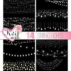 String Lights Effects Overlays 14 PNG Set Instant Download Bokeh Confetti Clipart
