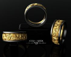 Intricate 14kt European Yellow Gold, Black Silver Wedding Band Mens or Womens Ring. Luxury Weight Comfort Fit. Contemporary Luxe Gothic!
