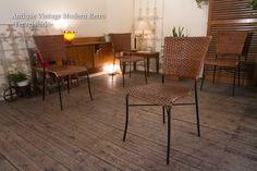 Modern Chairs 461L レトロな編み込みチェア4脚セット カフェ北欧リビング籐 インテリア 雑貨 家具 ¥8500yen 〆09月09日