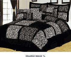7Pcs Queen Safari Black and White Patchwork Micro Suede Comforter Set