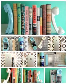 Vintage Phones | 23 Lovely DIY Bookends To Adorn Your Shelves