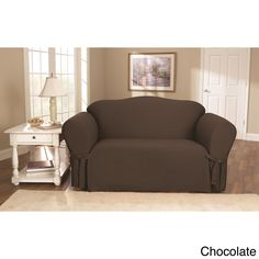 Sure Fit Cotton Duck Washable Loveseat Slipcover (Warm Chocolate / Loveseat), Brown