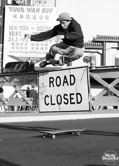 Mark Gonzales. Bar hop on a longboard with two different sized wheels. NY, NY.