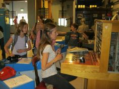 Children at the telephone exhibition - Milton Keynes Museum - Open Days and Annual Beer Festival