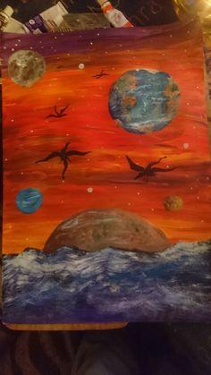 Fantasy art planets dragons