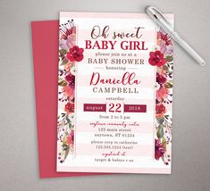 237 best baby shower invitations images on pinterest in 2018 baby pink floral baby shower invitation cranberry flower invite baby shower invite girl printed filmwisefo