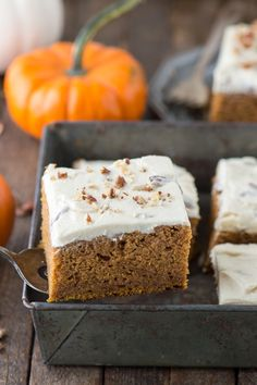 Easy to make pumpkin sheet cake made in a inch pan with homemade butter pecan frosting! Fall Dessert Recipes, Fall Desserts, Brownie Recipes, Cake Recipes, Pumpkin Sheet Cake, Homemade Butter, Butter Pecan, Fall Baking, Brownie Bar