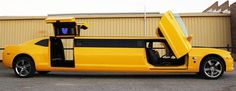 A Camaro Bumblebee Transformer Limo available for all occasions in Perth, Australia. The exotic Gold and Yellow Chevrolet, with full bumblebee theme interior… My Dream Car, Dream Cars, Yellow Camaro, Limousine Car, Limo For Sale, Motorcycle Paint Jobs, Chevrolet Camaro, Car Pictures, Custom Cars