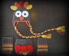 Turkey Hat, Diaper Cover & Legwarmers Handmade Crochet Baby Beanie Hat Photo Prop Custom Made