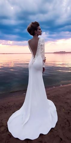 Top 24 Wedding Dresses For Celebration ❤ top wedding dresses sheath lace long sleeves low back florence dresses ❤ See more: http://www.weddingforward.com/wedding-ideas-part-2/ #wedding #bride