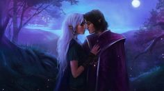 Baldur's gate Vidaniel Xan fan art artistic fantasy landscapes nature night moon moonlight trees love romance mood emotion elf elves women females girls men males kiss embrace cg digital paintings airbrushing wallpaper background