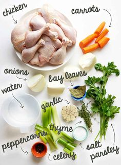 Start by getting these ingredients together to cook the chicken and make the broth.