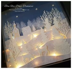 Blue Rose Paper Treasures: Christmas Lighted Shadow Box x.- Blue Rose Paper Treasures: Christmas Lighted Shadow Box x Blue Rose Paper Treasures: Christmas Lighted Shadow Box x - Christmas Shadow Boxes, Christmas Window Decorations, Christmas Frames, Christmas Paper, White Christmas, Christmas Lights, Christmas Holidays, Christmas Cards, Christmas Mantles