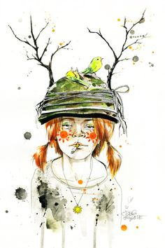 RED GIRL by Lora Zombie. Mom: your hair's a rat's nest... and stop smoking! Kid: No... it's a bird's nest.....