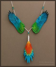 Golden Collared Macaw - Leather Wing Necklace by windfalcon.deviantart.com on @deviantART