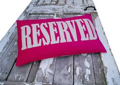 RESERVED word Cushion/pillow in hot pink & oatmeal.. $95.00, via Etsy.