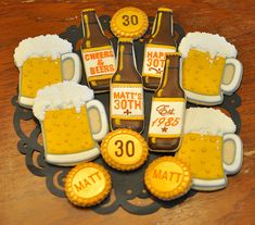 Beer Themed Birthday Party by Kelley Hart Custom Cookies