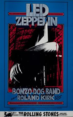Led Zeppelin at Winterland with the Bonzo Dog Band and Roland Kirk - 1969 concert poster.