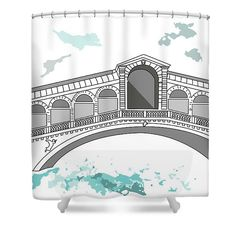 """Ponte Di Rialto In Venice Shower Curtain by Marina Usmanskaya for home decor.  This shower curtain is made from 100% polyester fabric and includes 12 holes at the top of the curtain for simple hanging.  The total dimensions of the shower curtain are 71"""" wide x 74"""" tall. One of the four bridges across the Grand Canal in Venice, is located in the Rialto quarter.Travel in Italy."""