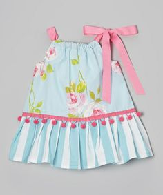 Blue & Pink Rose Pom-Pom Ruffle Dress - Infant, Toddler & Girls