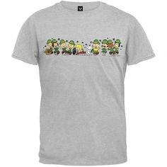 From the Peanuts comes this standard cotton short sleeve t-shirt in grey featuring the Peanuts celebrating St Patrick's day. A grand t-shirt for any Peanuts fan. Peanuts T Shirts, St Pats, Cotton Shorts, Lineup, Funny Shirts, Cool Stuff, Stuff To Buy, Jokes, My Style