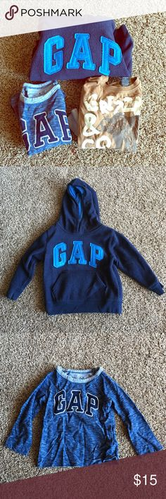 Set of 3 boys long sleeved tops Very nice tops. Two are long sleeve and one is a pullover sweatshirt. All in good condition. True to size. Price is for all! If you want to mix and match with other boys clothes let me know and we can work out a deal for you! 👍☺️ GAP Shirts & Tops Tees - Long Sleeve