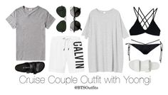 Cruise Couple Outfits: Yoongi by btsoutfits on Polyvore featuring Monki, Stone Fox, Vagabond, Birkenstock, Ray-Ban, Acne Studios and Topman