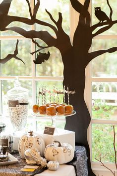Spooky Halloween Party - great article with tons of photos. Love the black craft paper trees! Spooky Halloween, Halloween Backdrop, Halloween Photos, Halloween Birthday, Diy Halloween Decorations, Holidays Halloween, Halloween Treats, Happy Halloween, Halloween Desserts