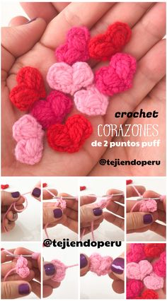 Corazón de #SanValentin tejido a #crochet con solo 2 puntos puff  Video tutorial... Se tejen en un par de minutos