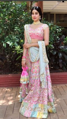 Gorgeous Jhanvi kapoor at Sonam kapoor wedding in a pink Lehenga Manish Malhotra Lehenga, Lehenga Choli, Pink Lehenga, Anarkali, Indian Wedding Outfits, Indian Outfits, Indian Clothes, Indian Weddings, Wedding Hijab