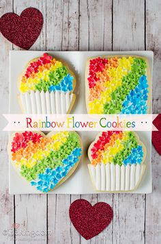 Rainbow Flower Cookies   @bakingdom