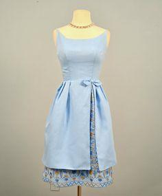 Vintage Party Dress...1960s HENLEY JR. Blue Cotton Party by deomas, $135.00