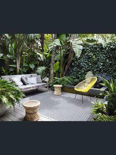 Outdoor patio + (maybe) herb garden = Home goal Outdoor Rooms, Outdoor Living, Outdoor Furniture Sets, Outdoor Decor, Small Gardens, Outdoor Gardens, Small Garden Spaces, Small Courtyard Gardens, Courtyard Ideas