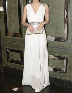 White Long Chiffon Dress - Evening Dresses