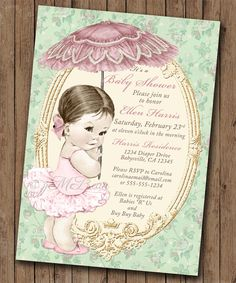 Vintage baby shower invitation for girl baby bath pink diy sprinkle baby shower invitation sprinkle vintage baby shower invitation for girl mint gold and pink diy printable filmwisefo
